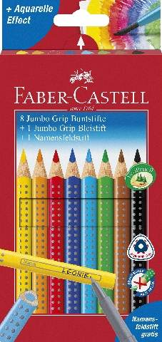 Faber Castell Farbstift Jumbo Grip Promotionetui 8+1+1  Kartonetui